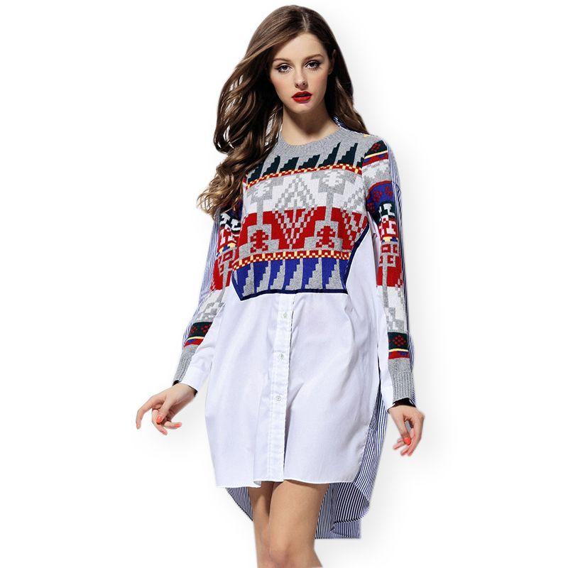 Plus Size Knitted Geometric Print Patchwork Boyfriend Shirt Women