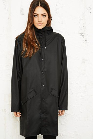 UNISEX Rains Long Waterproof Jacket in Black at Urban Outfitters