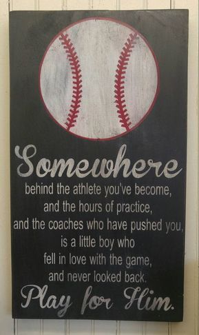 Photo of Play for Him Baseball Art , Gift for Ball Player, Unique Boy's Bedroom Decor, Coach Gift, College Dorm Decor, Little League Team Gifts