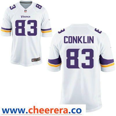 reputable site 98879 d4122 Men's Minnesota Vikings #83 Tyler Conklin White Road ...