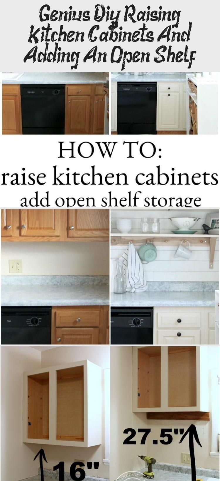 Genius Diy Raise The Kitchen Cabinets And Add An Open Shelf Decor Zone In 2020 Small Kitchen Storage Diy Open Shelving Kitchen Cabinets