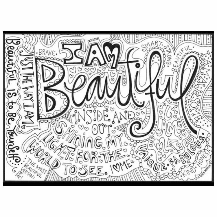 I Am Beautiful Coloring page download, Adult coloring page ...