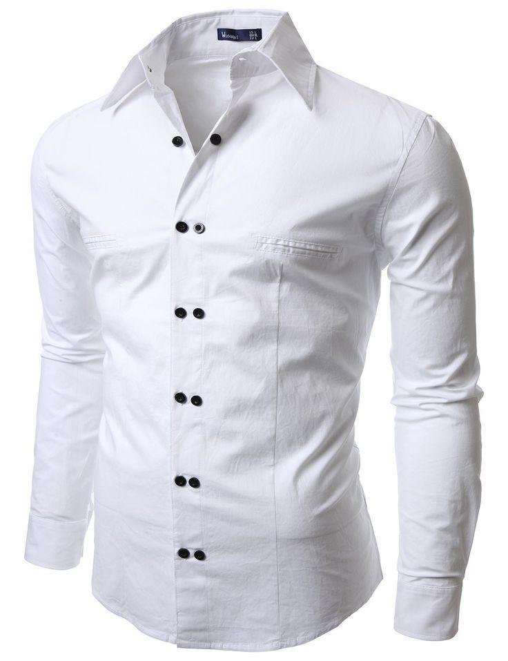 Doublju Men's Casual Long Sleeve Double Button Dress Shirt WHITE #doublju -  navy blue short