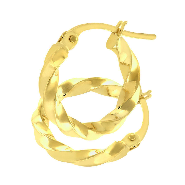 Citerna Women 9 ct Yellow Gold Twisted Hoop Earrings pvhgw9U