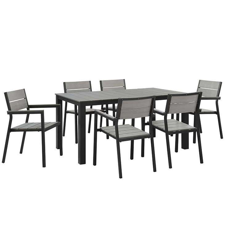Maine 7 Piece Outdoor Patio Dining Set in Brown Gray - East End Imports EEI-1749-BRN-GRY-SET