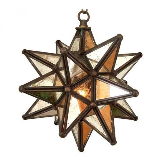 Moravian Star Pendant with Antique Mirror Glass and Bronze ...