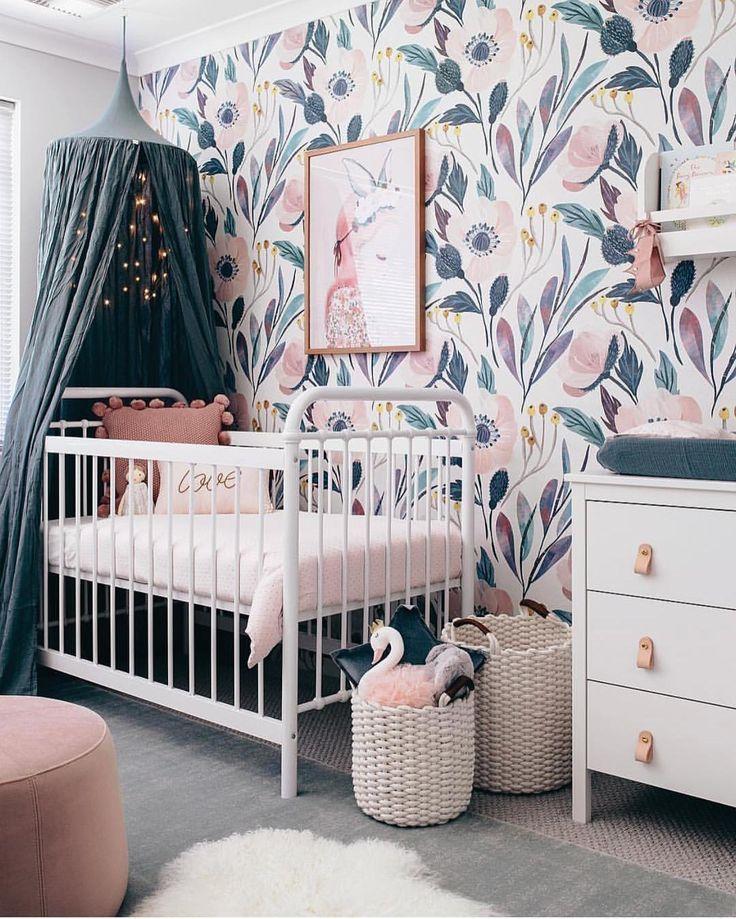753 Likes 20 Comments Leoandbella Com Au Leoandbella On Instagram Ice Blue Perfect Baby Girl Nursery Pink Removable Wallpaper Nursery Girl Nursery Pink