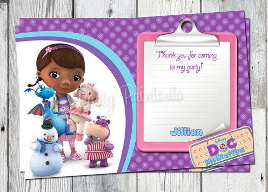 doc mcstuffins thank you card: printable dr. mc stuffins birthday, Birthday invitations