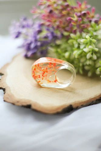 Transparent Resin Ring Orange Flower Resin Ring by kskalozubova