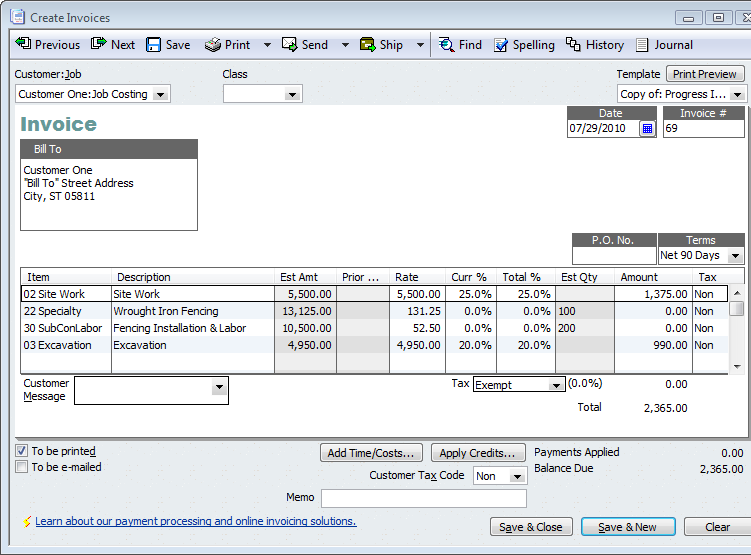 quickbooks for contractors tip–basics of progress invoicing, Invoice templates