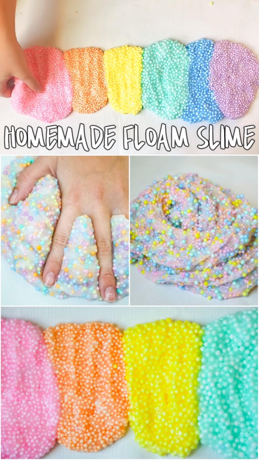 Make crunchy floam slime with the kids. Floam recipe diy at home. Sensory kids activity to make. Slime recipe.