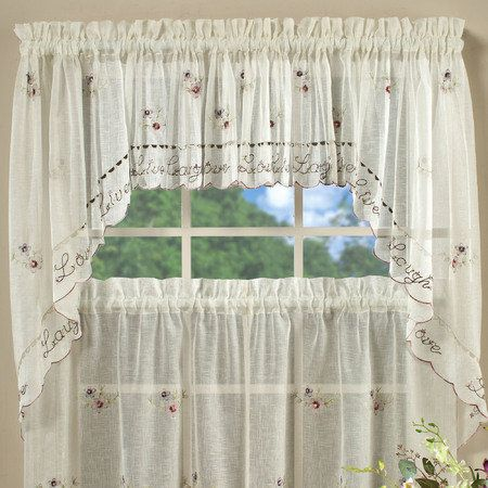 Live Laugh Love Swag Valance Pair Pearl 57 x 35