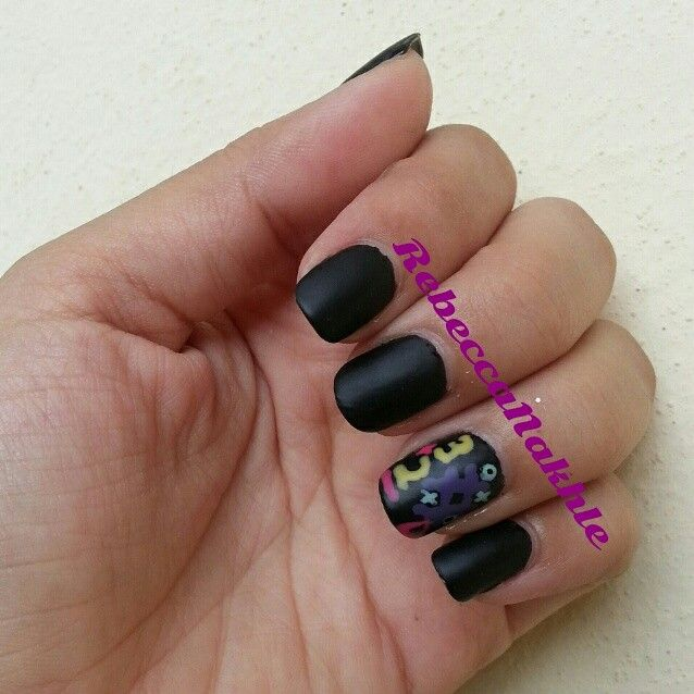 September Nail Art Challenge by Californails Day 13: School Things. Matte Black Back To School Board Nails