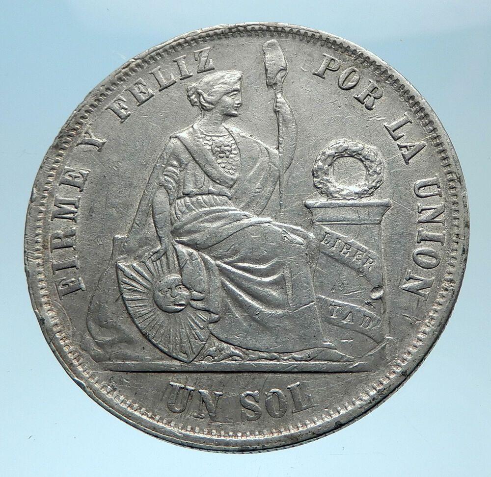 1865 Peru South America 1 Sol Antique Big Original Silver Peruvian Coin I77979 South America Coins War Of The Pacific