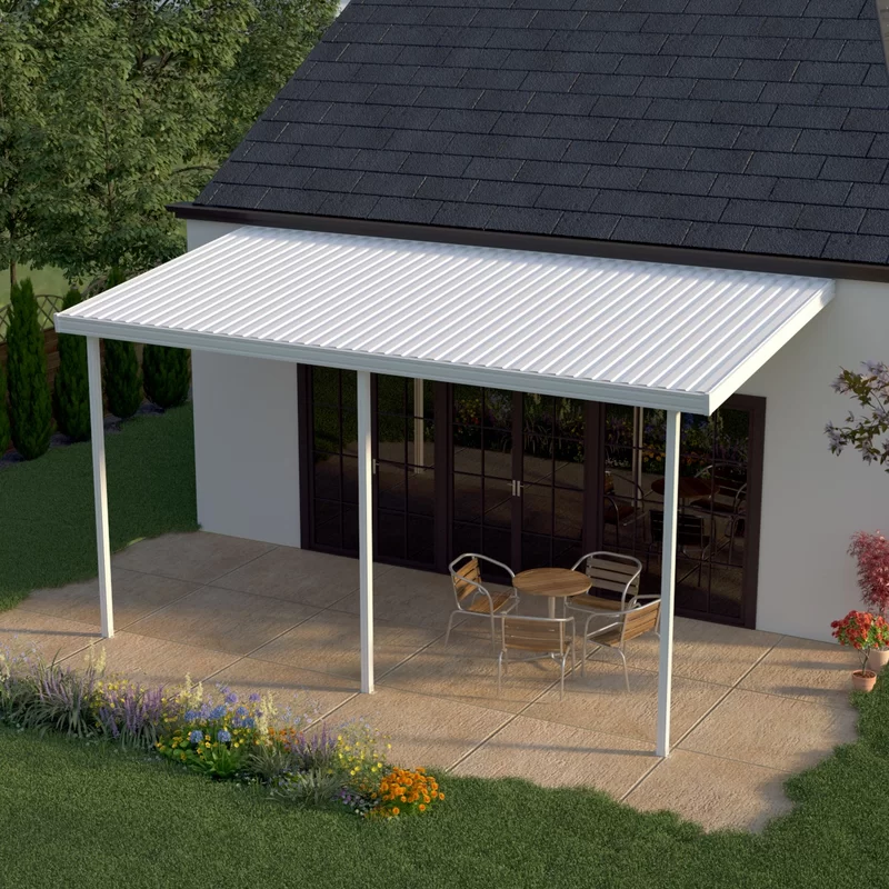 20 Ft W X 8 Ft D Metal Standard Patio Awning In 2020 Aluminum Patio Covers Patio Awning Carport Patio