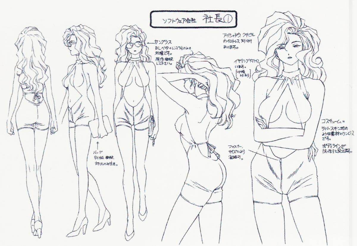 80sanime — Madame President Settei Character Design Sheets