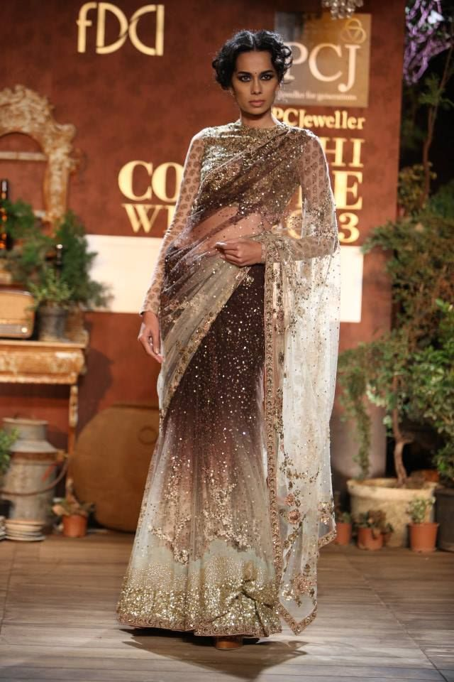 sabyasachi saree: love this gradient fade shimmer embroidery