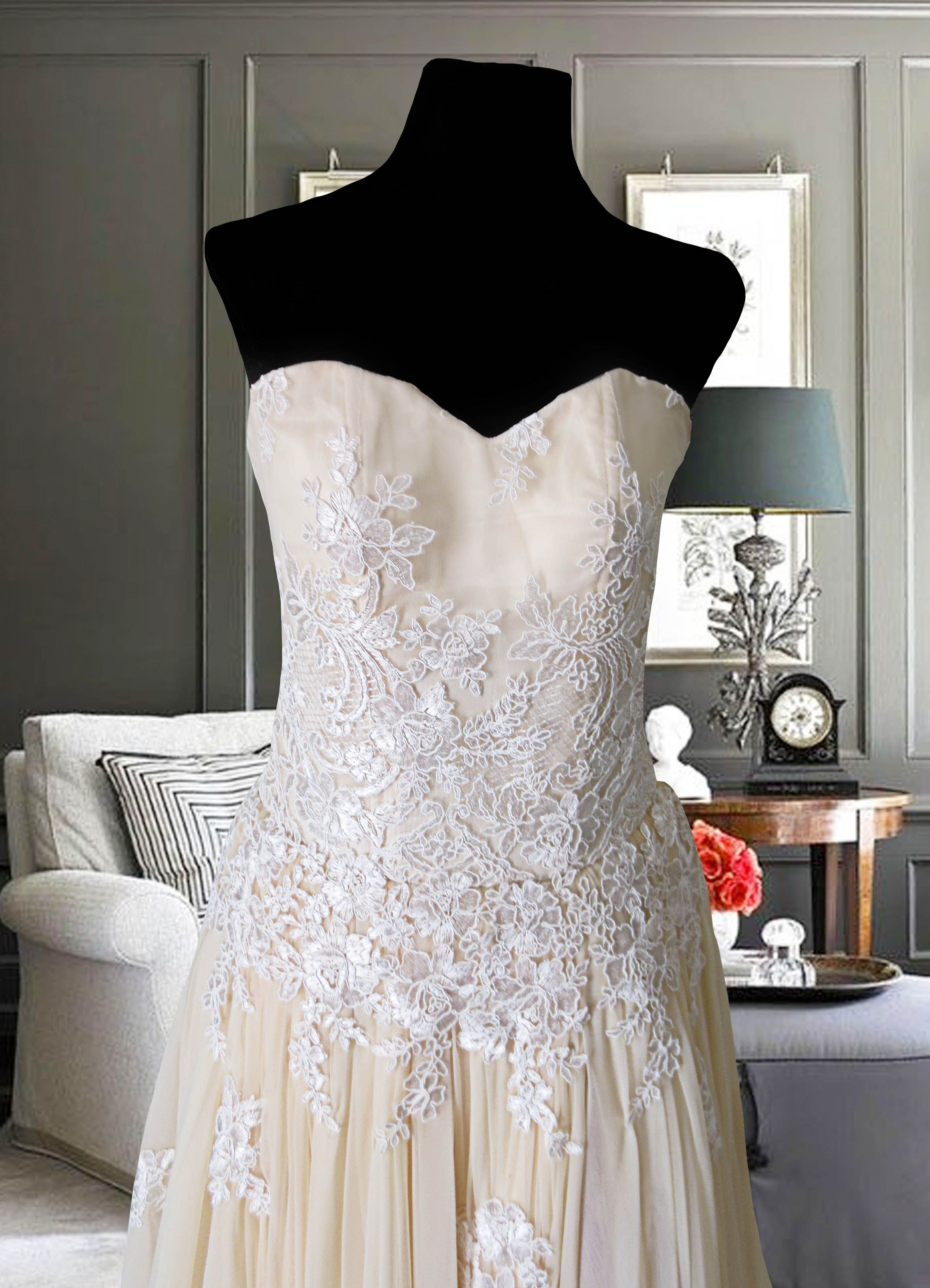 Cream Beige long gown with white lace appliqué for rent Php2,000 ...