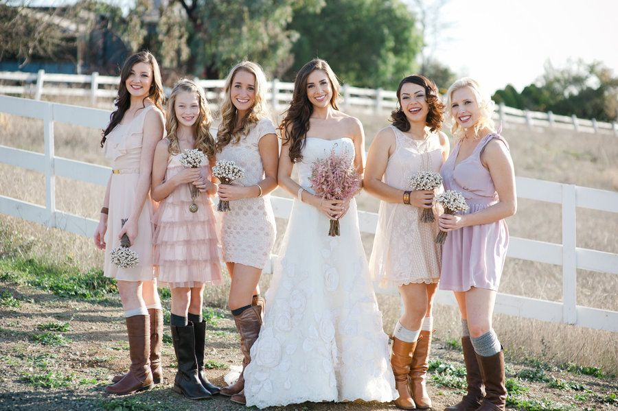 Awesome romantic outdoor wedding country western footwear bridesmaid dresses