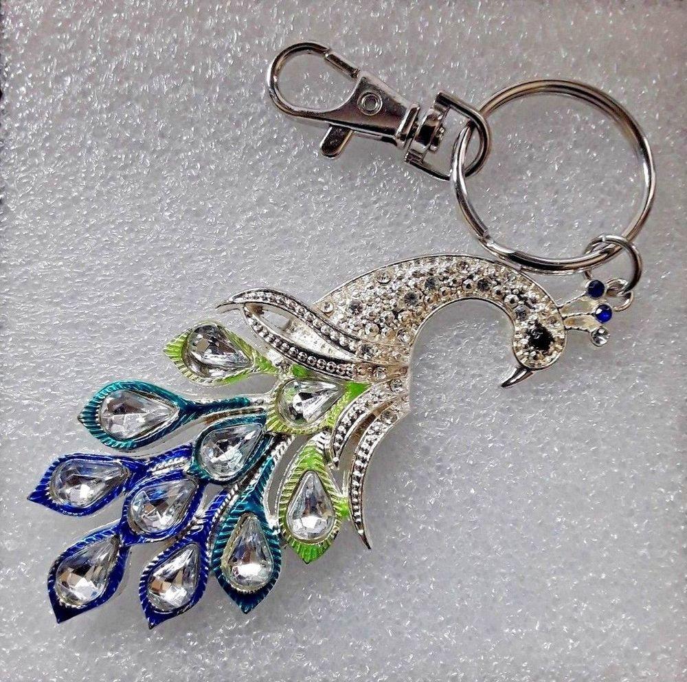 Peacock Rhinestone and Metal Keychain Purse Bag Charm