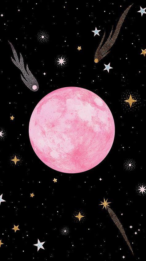 24 Ideas For Illustration Art Moon Stars Illustration Art Pink Moon Wallpaper Strawberry Moons