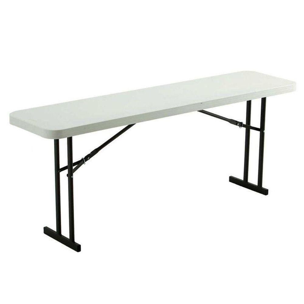 Lifetime 72 In White Plastic Folding Seminar Table 80176 White