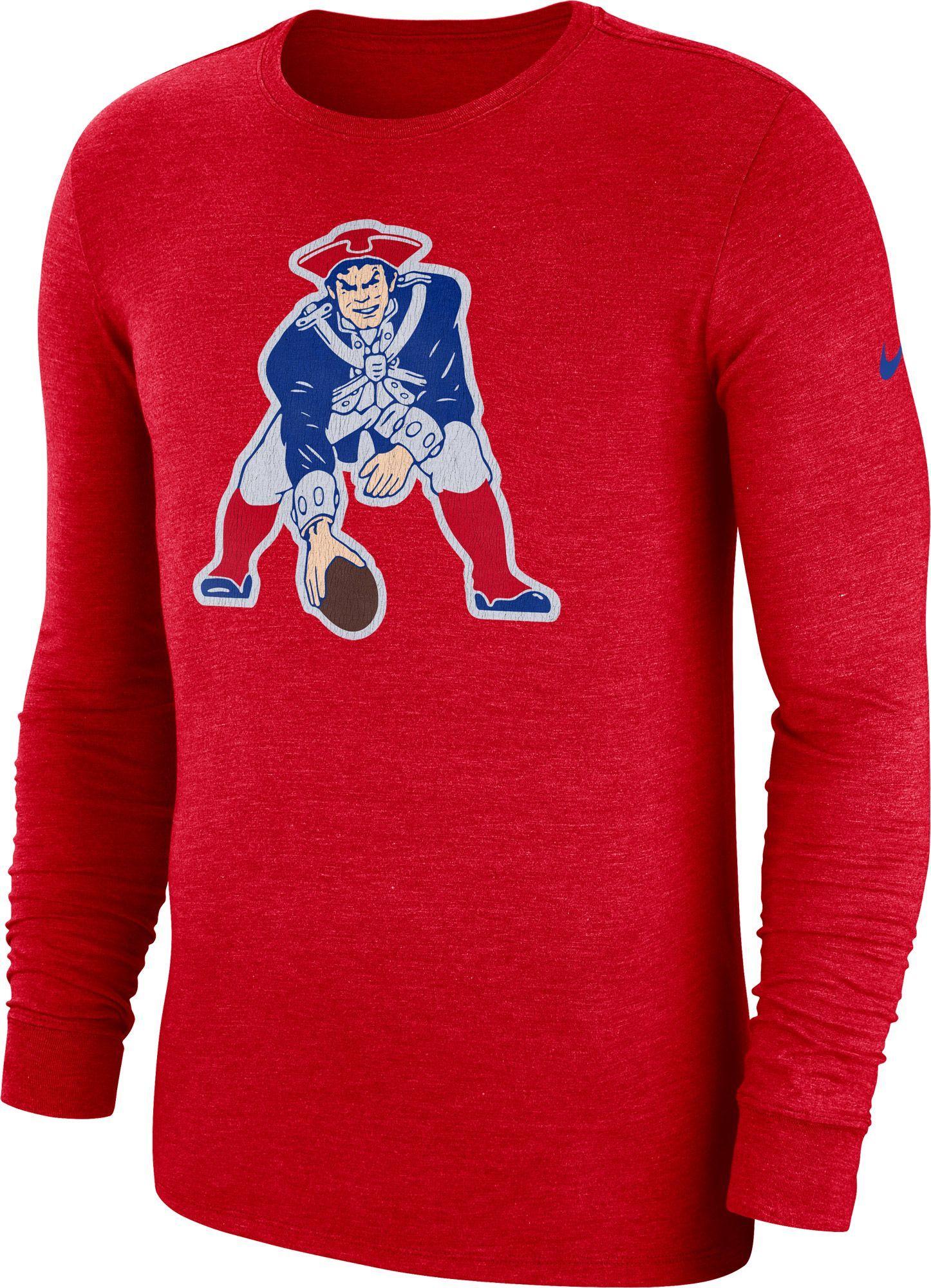 Nike Men s New England Tri-Blend Historic Crackle Red Long Sleeve Shirt c08c520ba