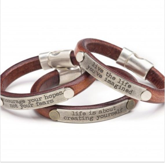 Leather Bracelet With Inspirational Sayings By Luckyloudesigns