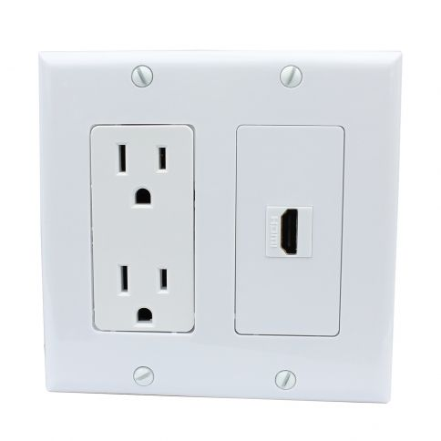 Brand New 15 Amp Power Outlet And 1 Port Hdmi Decora Type Wall Plate White Plates On Wall Wall Outlets Wall