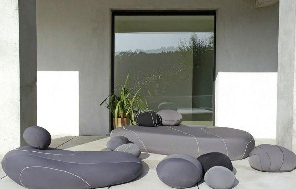 Outdoor Möbeldesign-Steine Liegesofa-Hocker Sitzsack-grau de ...