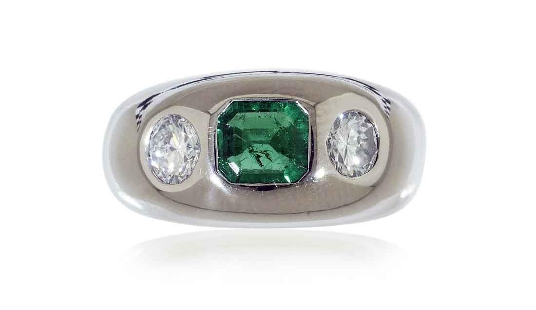 Schmuck kaufen Juwelier Weissgold Bandring Kolumbianischem Smaragd