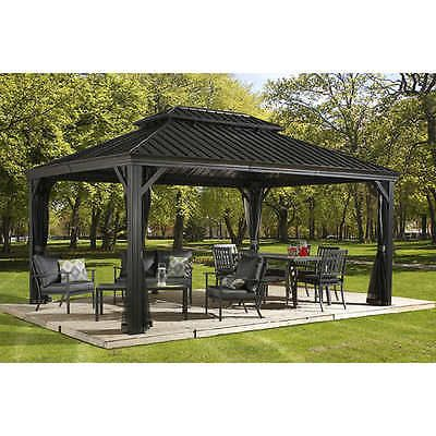 Sojag Messina Galvanized Steel Roof Sun Shelter 12 X 20 Ft 12 X 16 Ft 10 X12ft Hardtop Gazebo Patio Gazebo Pergola Patio