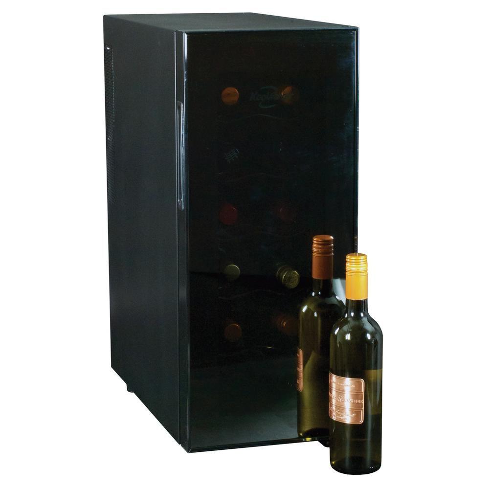 Koolatron 12 Bottle Freestanding Thermoelectric Wine Cooler Black