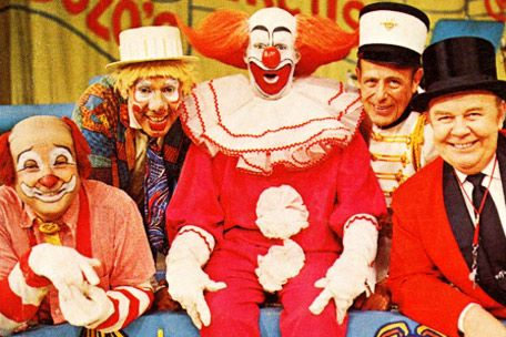 Bozo Circus cast.  Ray Raynor as Cookie the clown 2nd up from left