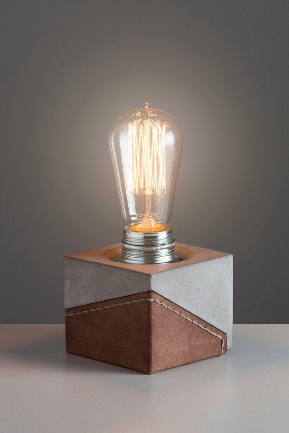 Edison Lamp , Cube Lamp , Concrete Table Lamp , Leather Lamp , Minimalist  Industrial Lamp , Concrete Light , Modern Desk Lamps