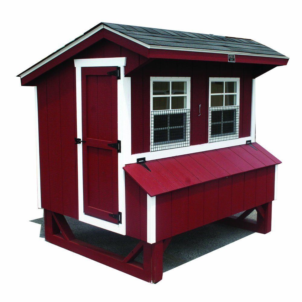 Home U0026 Garden   Horizon Structures 5 By Chicken Coop Kit, Red With White  Trim And Dark Gray Shingles