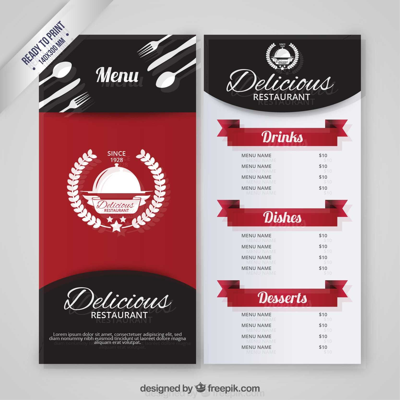 amazing restaurant menu template free print templates