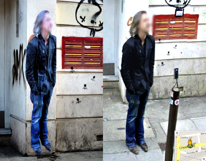 Life-sized pictures of people found on Google's Street View printed and posted at the same spot where they were taken