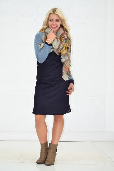 bc5447dc62c Color Block Navy French Terry Dress - My Sisters Closet