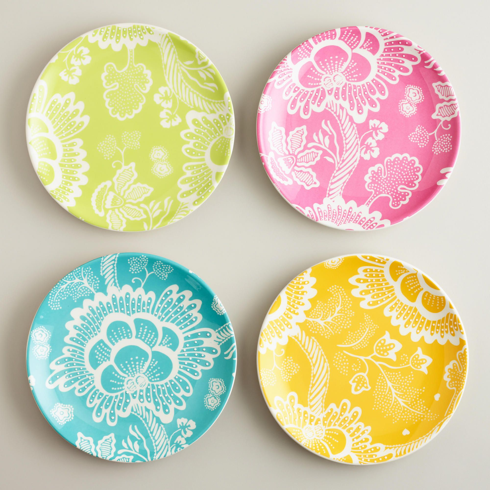 Spring Floral Plates, Set of 4 | Pottery, Plate wall and Kitchens