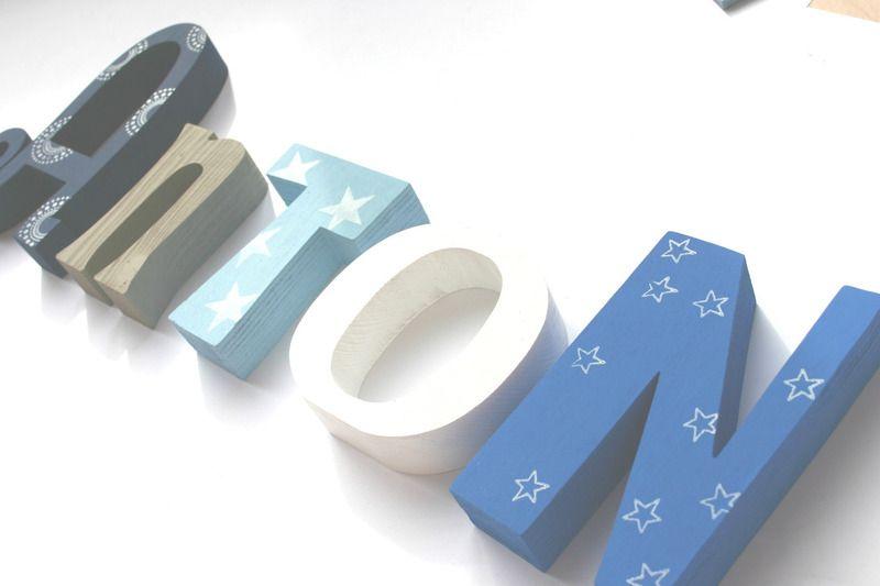 Holzbuchstaben namen baby von me and marie auf dawanda for Holzbuchstaben babyzimmer