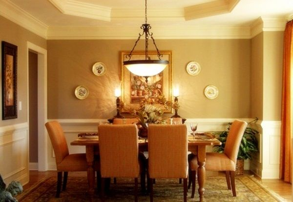 Charmant Wall Color Ideas Shown In The Public Space: Antique Chandelier Classic Dining  Table Set Creamed Brown Wall Dining Room Wall Color Ideas ~ Dickoatts.com  Wall ...