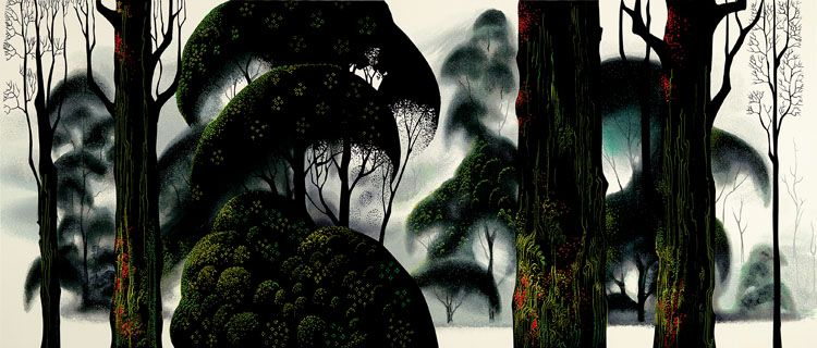 """© 2006 Eyvind Earle Publishing  Title:Fog and Storm Rain15"""" X 36"""" To Order  ----  Please Call    831-625-1738 or Email:    info@gallery21.com"""
