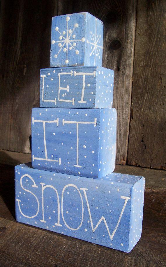 Let It Snow Word Block Shelf Sitter Christmas