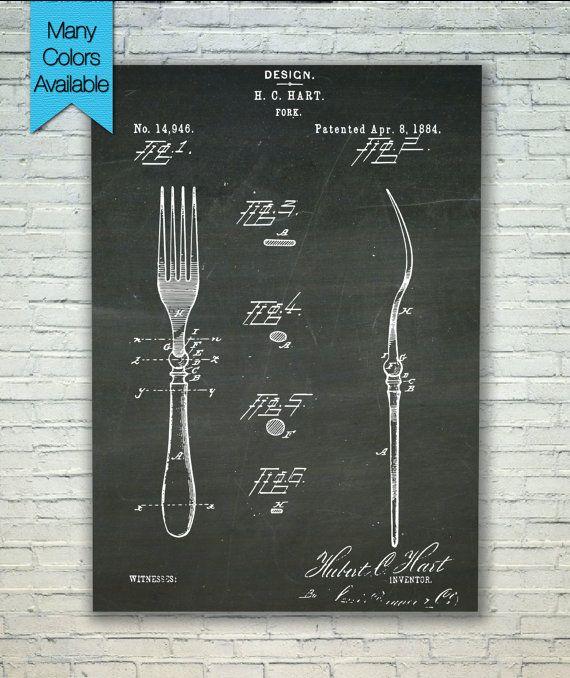 Fork Patent Kitchen Decor Dining Room Art by PatentPosterPrints