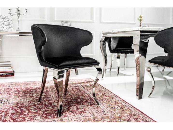 Eleganter Stuhl Modern Barock Ii Schwarz Samt Edelstahlbeine Chair Sofa Design Chair Design