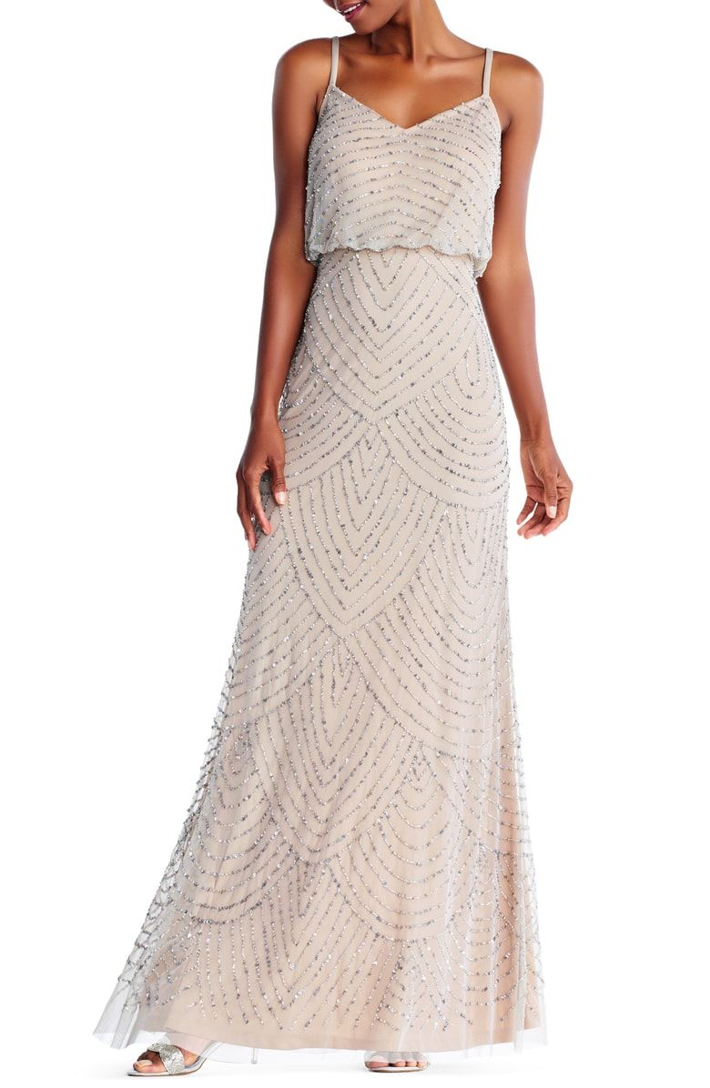 08820e3a9bd1 Free shipping and returns on Adrianna Papell Embellished Blouson Gown  (Regular & Petite) at Nordstrom.com. Shining metallic beads and sequins  accentuate the ...