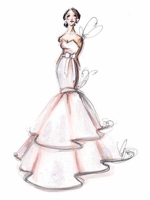 Bridal Portrait Watercolor Bridal Illustration Available Sizes