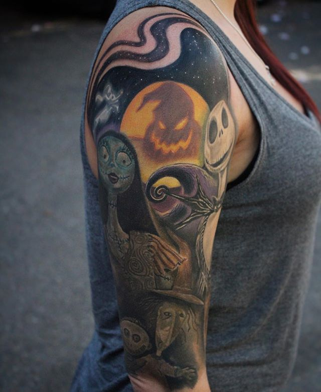 Nightmare Before Christmas Half Sleeve Close To Being All Done Thanks Sarah Cool Half Sleeve Tattoos Half Sleeve Tattoo Half Sleeve Tattoos Drawings