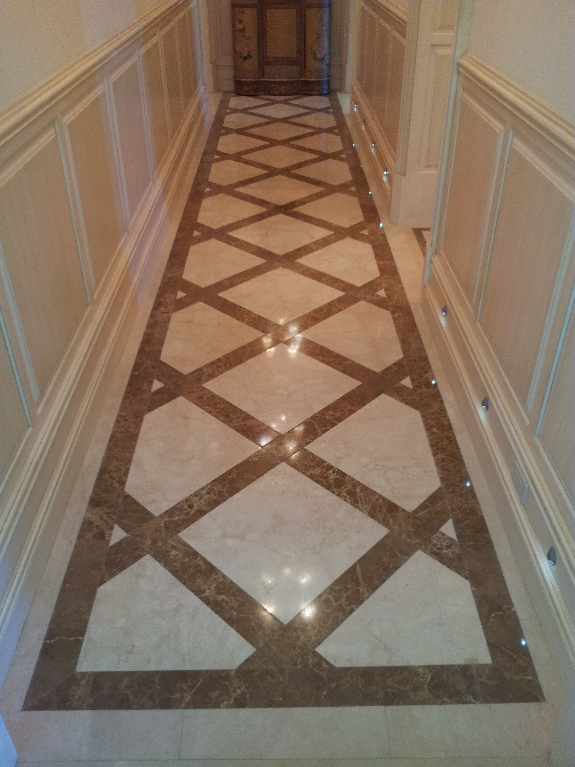 Crema Marfil And Emperador Light Marble Floors Design By Blair Burns Please  Call For More Info